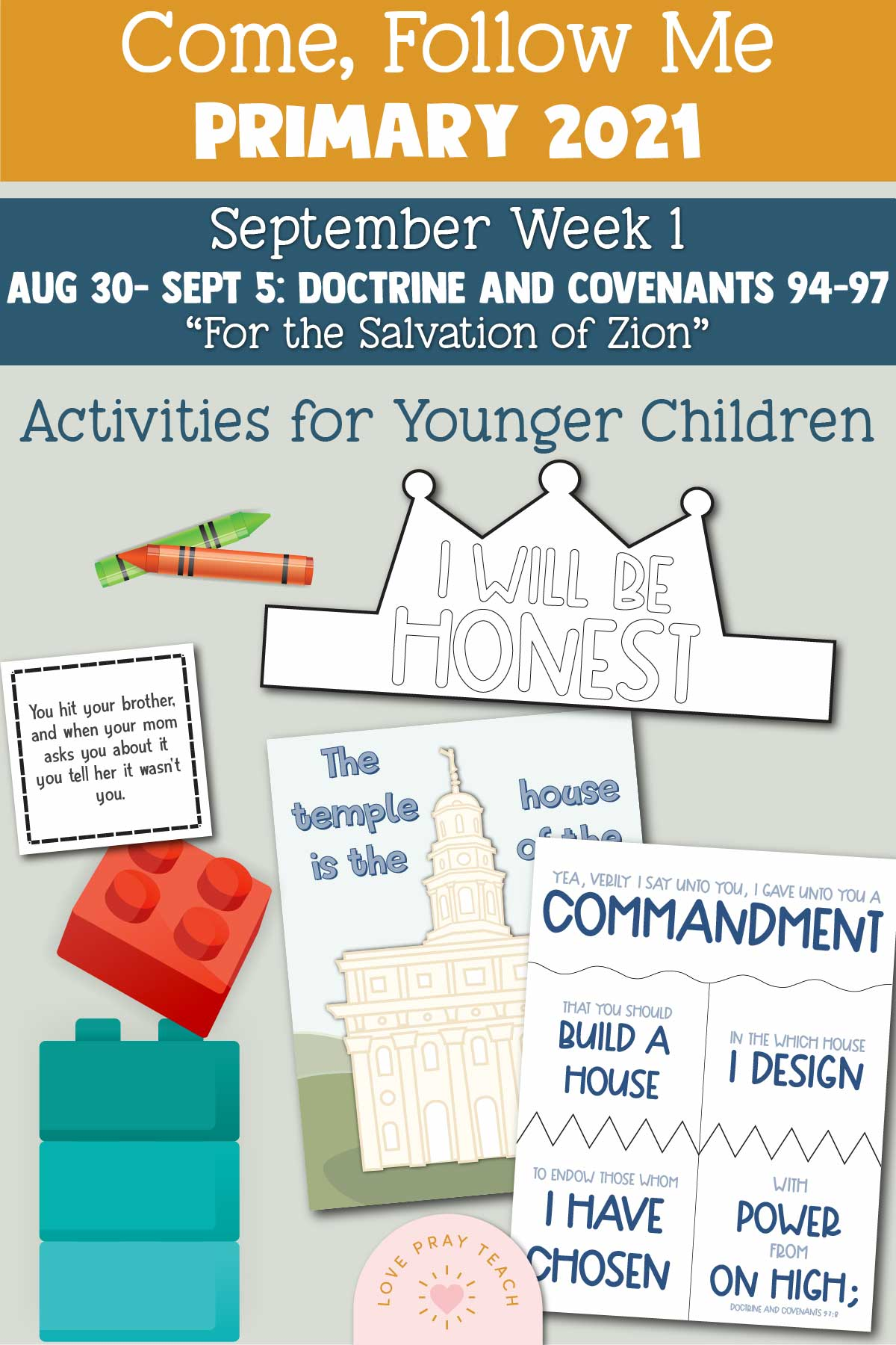 """Come, Follow Me - For Primary: August 30–September 5 Doctrine and Covenants 94–97 """"For the Salvation of Zion"""" Printable Lesson Packet"""