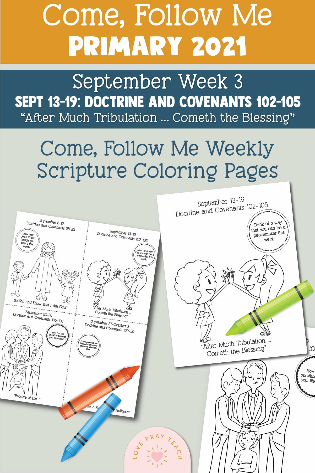 """Come, Follow Me - For Primary: September 6–12  Doctrine and Covenants 98–101 """"Be Still and Know That I Am God"""" Printable Lesson Packet"""