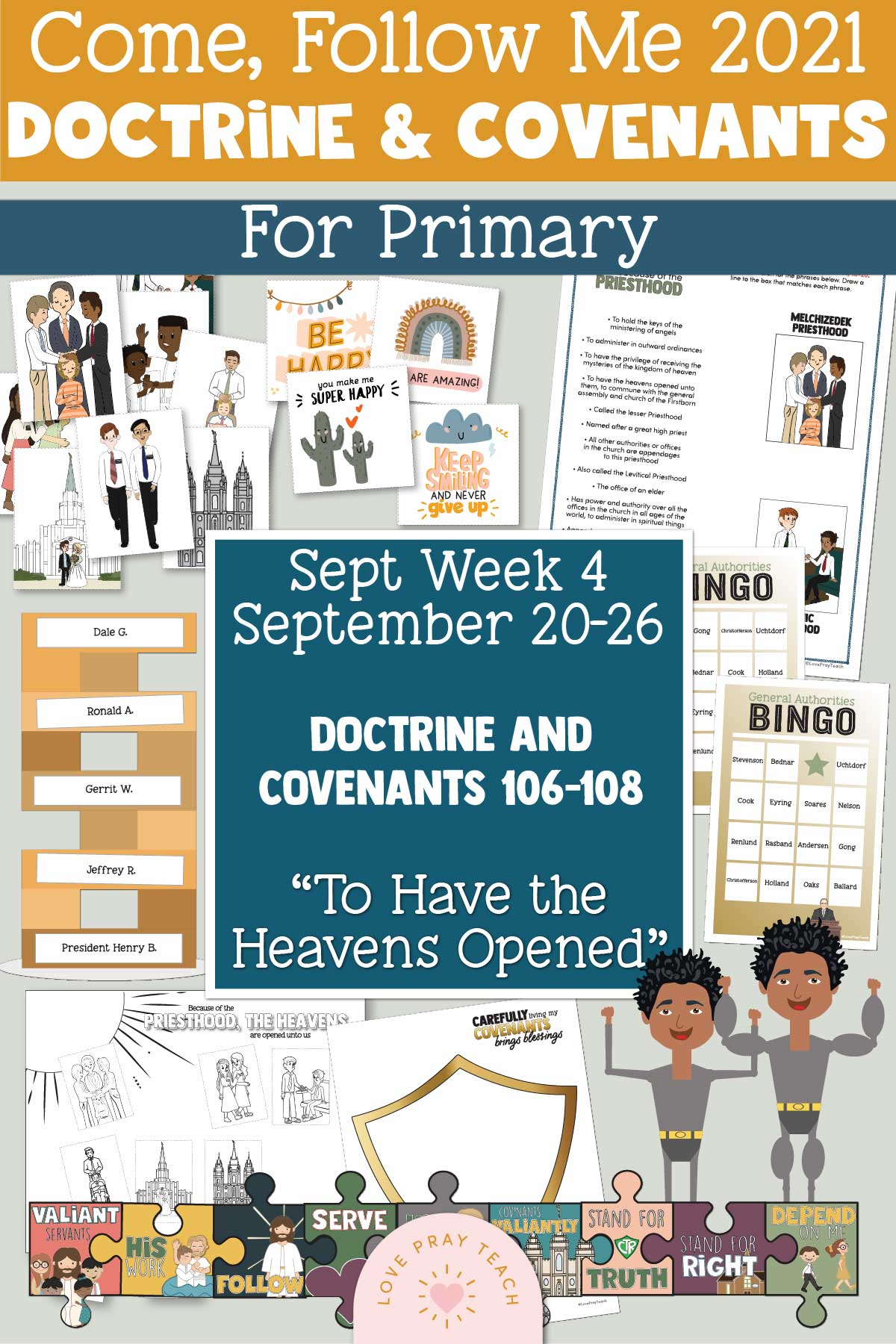 """Come, Follow Me for Primary September 20–26 - Doctrine and Covenants 106–108 """"To Have the Heavens Opened"""" Printable Lesson Packet"""