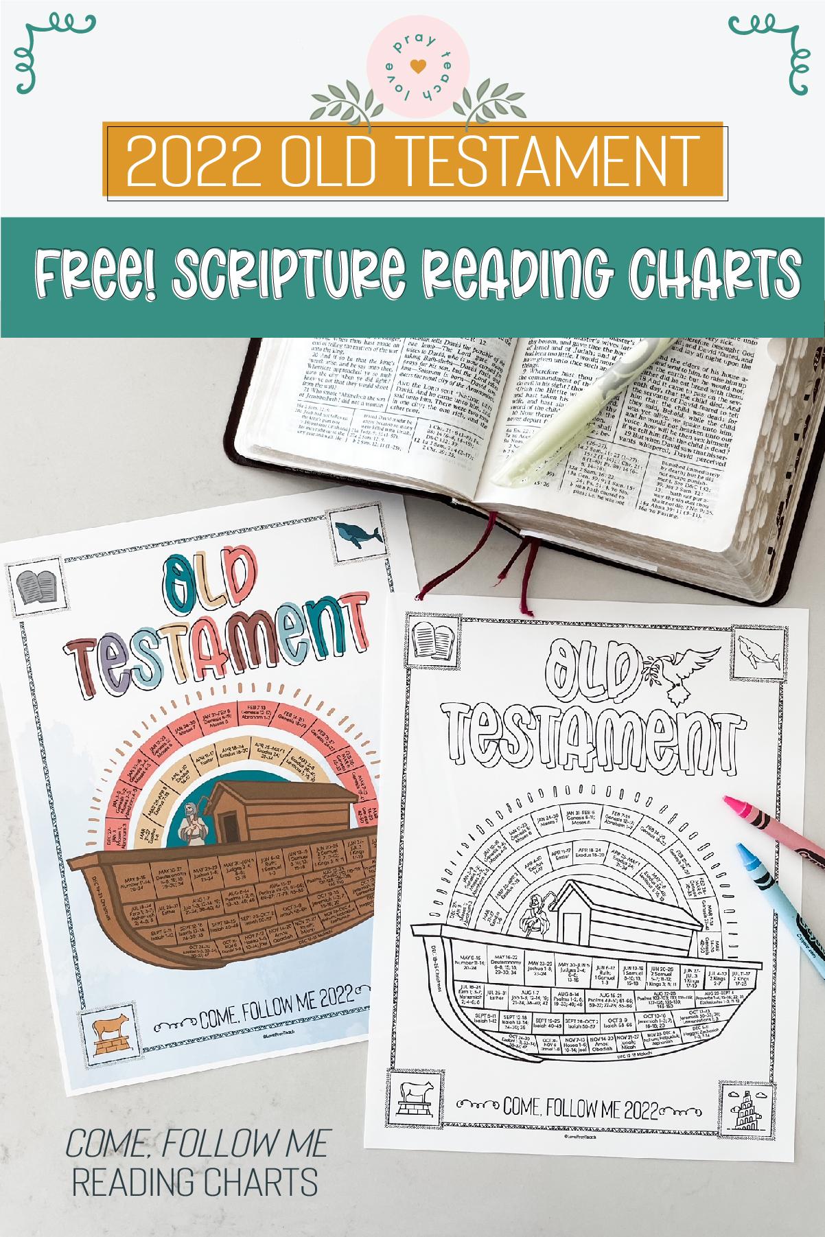 "Free! 2022 ""Come, Follow Me"" Old Testament Scripture Reading Chart www.LovePrayTeach.com"